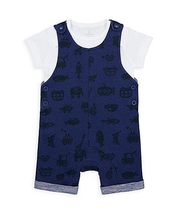 Mothercare Little Car Bibshorts And Bodysuit Set