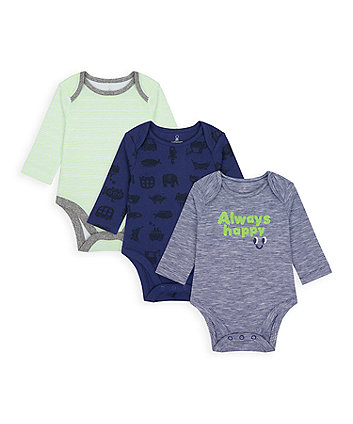 Mothercare Always Happy Bodysuits - 3 Pack