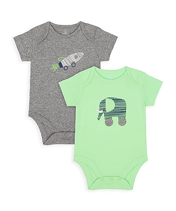 Mothercare Elephant And Rocket Bodysuits - 2 Pack