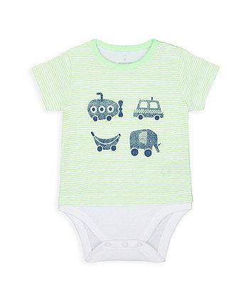 Mothercare Little Car Mock T-Shirt Bodysuit