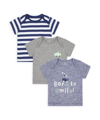 Mothercare NB Boys Car Short Sleeve T- Shirts - 3 Pack