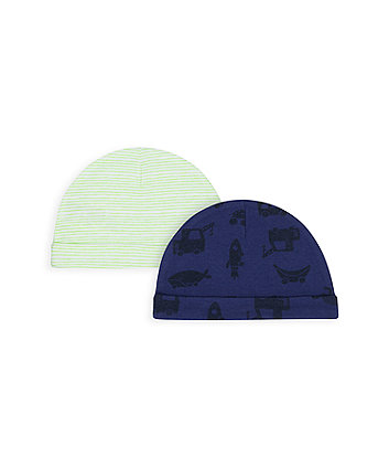 Mothercare Little Cars Hats - 2 Pack
