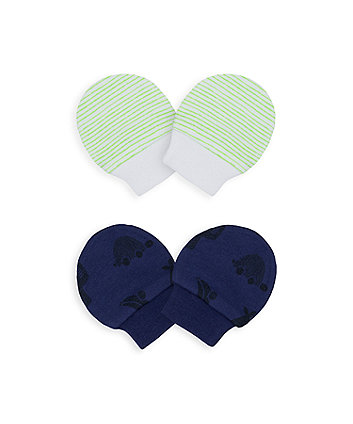 Mothercare Little Cars Mitts - 2 Pack