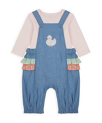 Mothercare Little Duck Frilled Dungarees And Bodysuit Set