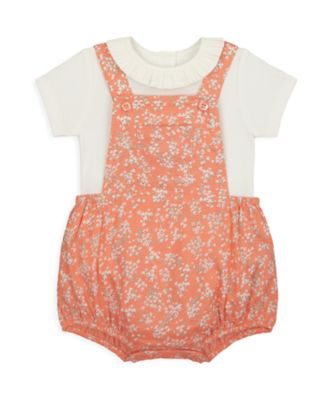 Mothercare NB Girls Little Duck Floral Woven Bibshort Set