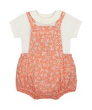 Mothercare Floral Bibshorts And Bodysuit Set