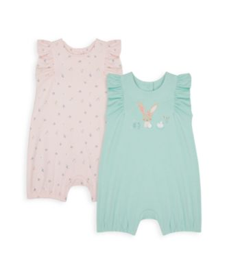 Mothercare NB Girls Little Duck Frill Sleeve Rompers - 2 Pack