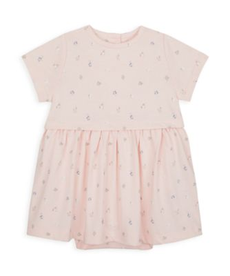 Mothercare NB Girls Little Duck Pink Allover Print Short Sleeve Romper Dress