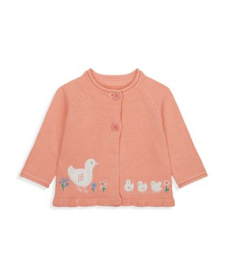 Mothercare NB Girls Little Duck Coral Duck Cardigan