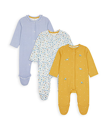 Mothercare Spring Bird Sleepsuits - 3 Pack