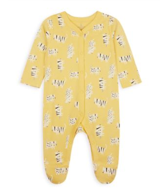 Mothercare Wardrobe Essentials NB Girl Yellow Cat All-In-One