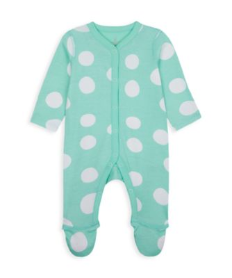 Mothercare Wardrobe Essentials NB Girl Green Spot All-In-One