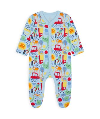 Mothercare Wardrobe Essentials NB Boy Blue Bright Allover Print All-In-One