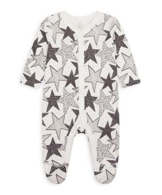 Mothercare Wardrobe Essentials NB Unisex Monochrome Star All-In-One
