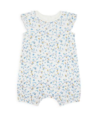 Mothercare NB Girls Bird Allover Print Frill Collar Romper