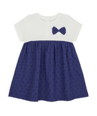 Mothercare NB Girls Bird Twofer Navy Bow Dress