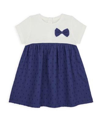 Mothercare NB Girls Bird Twofer Navy Bow Dress