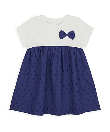 Mothercare Navy Bow Twofer Dress