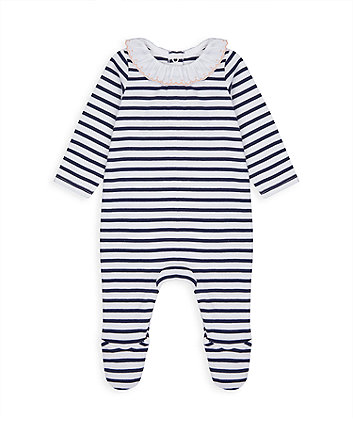 Mothercare Navy Striped All In One