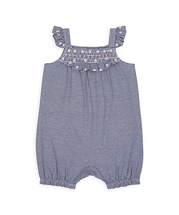 Mothercare Heritage Striped Smocked Romper With Frills