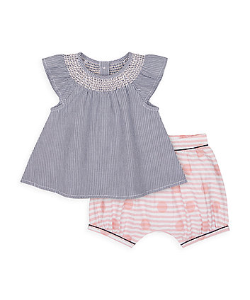 Mothercare Heritage Embroidered Blouse And Shorts Set