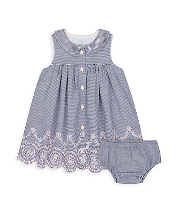 Mothercare Heritage Striped Dress With Broderie Hem