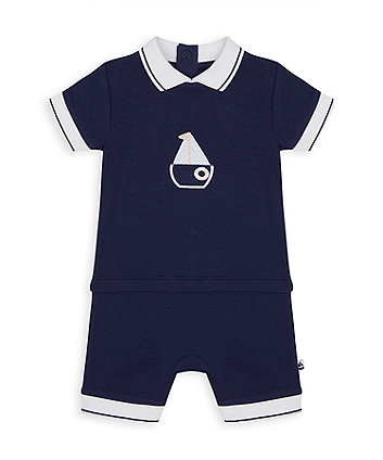 Mothercare Heritage Mock Shorts And Tee Boat Romper