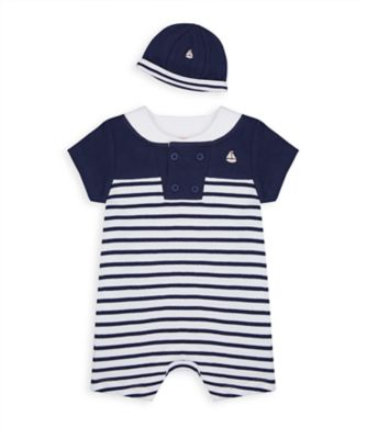 Mothercare NB Heritage Boy Navy Stripe Romper With Hat