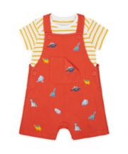 Mothercare Dino And Friends Bibshorts And Bodysuit Set
