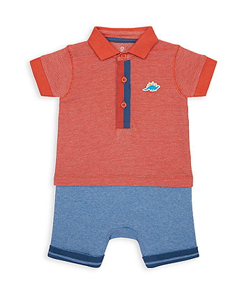 Mothercare Dino Mock Pique Top And Shorts Romper