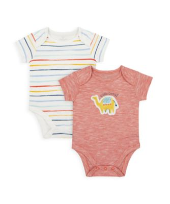 Mothercare NB Boys Dino Short Sleeve Bodysuits - 2 Pack