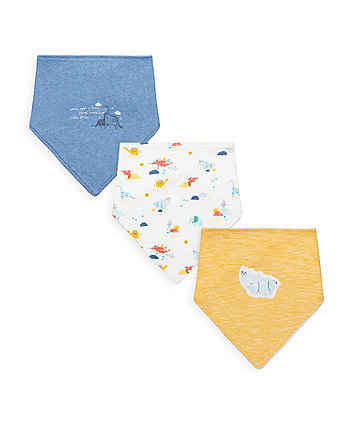 Mothercare Dino And Friends Bandana Bibs - 3 Pack