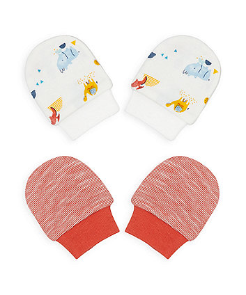 Mothercare Dino And Friends Mitts - 2 Pack