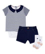 Mothercare Heritage Striped Bodysuit, Shorts And Socks Set