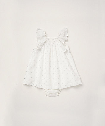Mothercare White Shimmer Dress And Knickers Set