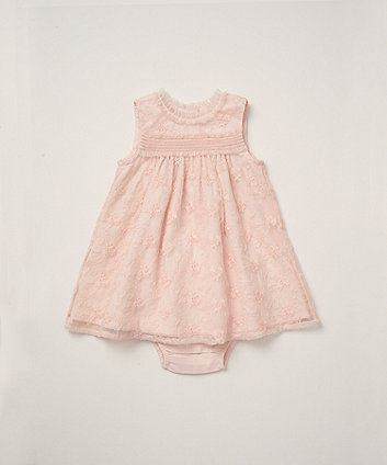 Mothercare Pink Embroidered Mesh Dress And Knickers Set