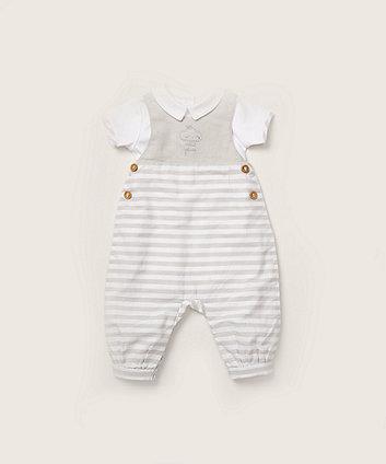 Mothercare Mini Prince Cloud Dungarees And Bodysuit Set