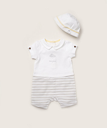 Mothercare Mini Prince Mock Shorts And T-Shirt Romper And Hat Set