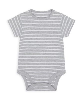 Mothercare Wardrobe Essentials NB We Grey Stripe Short Sleeve Bodysuit
