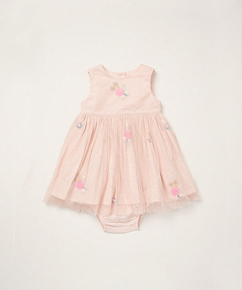 Mothercare Pink Floral Woven Dress And Knickers Set