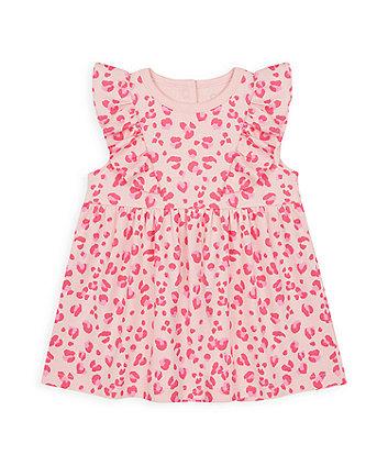 Mothercare Pink Leopard-Print Jersey Dress