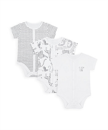 Mothercare Monochrome Bodysuits With Poppers - 3 Pack