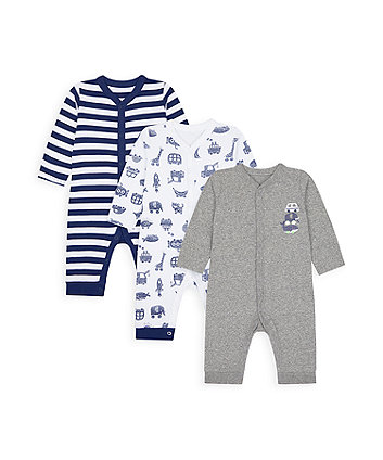 Mothercare Animal Alphabet Footless Sleepsuits - 3 Pack
