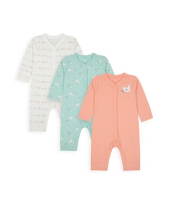 Mothercare Girls Little Duck Footless Sleepsuits - 3 Pack