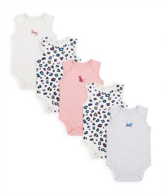 Mothercare Girls Little Leopard Sleeveless Bodysuits - 5 Pack