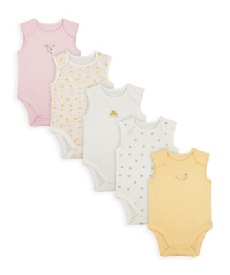 Mothercare Girls Mummy & Daddy Bee Sleeveless Bodysuits - 5 Pack