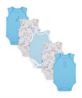 Mothercare Boys Monkey Sleeveless Bodysuits - 5 Pack