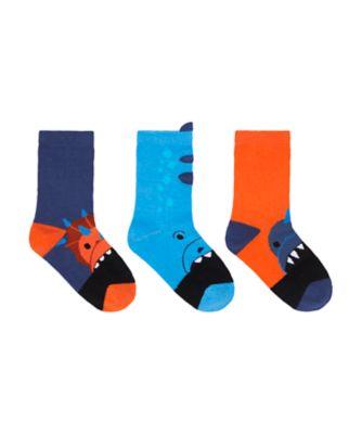 Mothercare Boys Novelty Orange Dinosaur Socks - 3 Pack