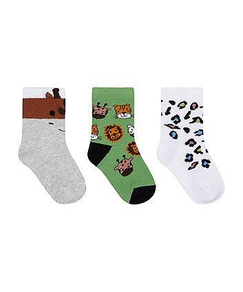 Mothercare Novelty Animal Socks - 3 Pack