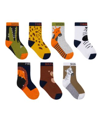 Mothercare Boys Days Of The Week Animal Socks - 7 Pack